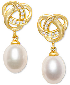 Cultured Freshwater Pearl (7 x 9mm) and Cubic Zirconia Knot Earring in 18k Gold over Sterling Silver.