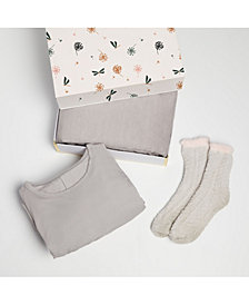 Women's Cozy 3pc Nightgown Blanket and Socks Gift Set
