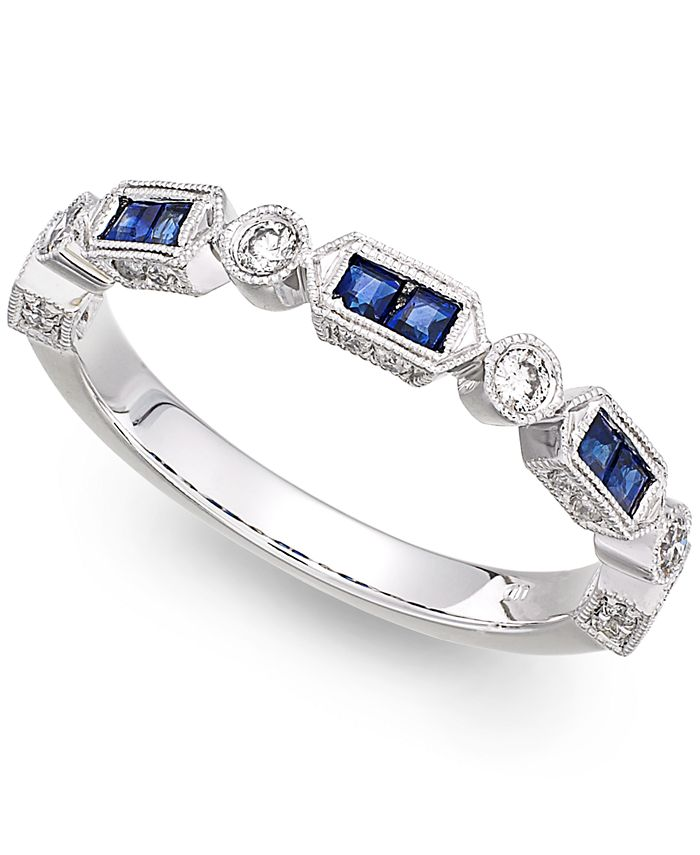Macy's - 14k White Gold Sapphire (1/3 ct. t.w.) and Diamond (1/5 ct. t.w.) Alternating Ring