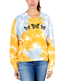Rebellious One Juniors' Butterfly Graphic Tie-Dyed Sweater