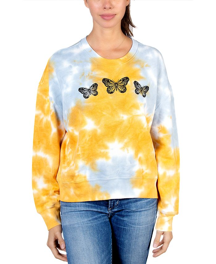 Rebellious One - Juniors' Butterfly Graphic Tie-Dyed Sweater
