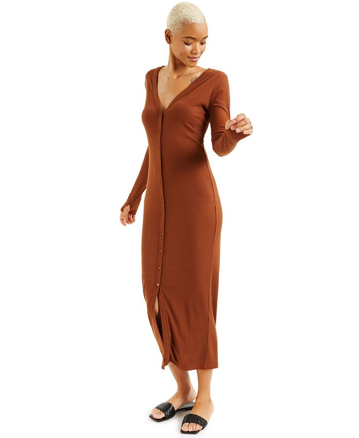INC International Concepts - Ribbed Button-Front Dress