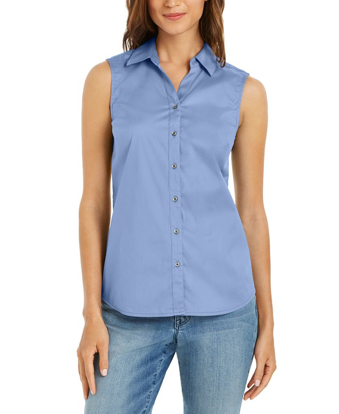 Charter Club - Petite Sleeveless Button-Up Shirt