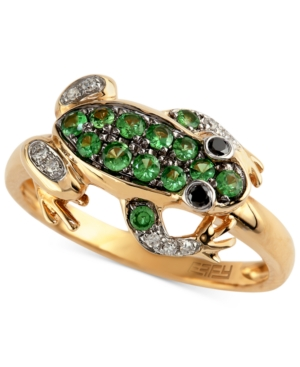 Gemma by EFFY 14k Gold Tsavorite (1/4 ct. t.w.) and Diamond Accent Frog Ring