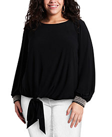 MSK Plus Size Embellished-Cuff Tie-Front Blouse