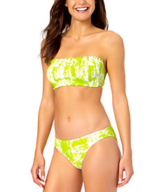 California Waves Juniors' Smocked Bandeau Printed Top & Bikini Bottoms, Created for Macy's