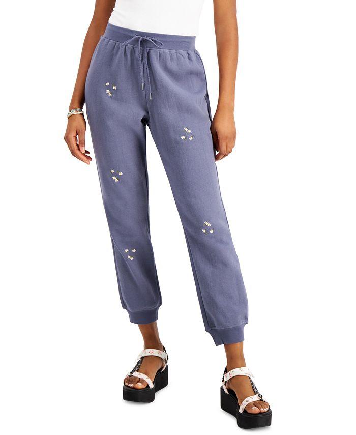 Indigo Rein - Juniors' Cotton Daisy-Embroidered Sweatpants