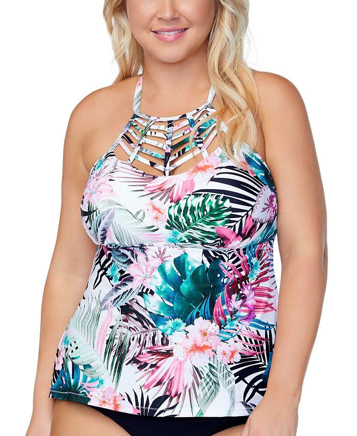 Raisins Curve - Trendy Plus Size Boa Haute Bloom Strappy Tankini Top