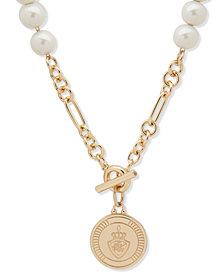 "Lauren Ralph Lauren Gold-Tone & Imitation Pearl Crest 16"" Pendant Necklace"