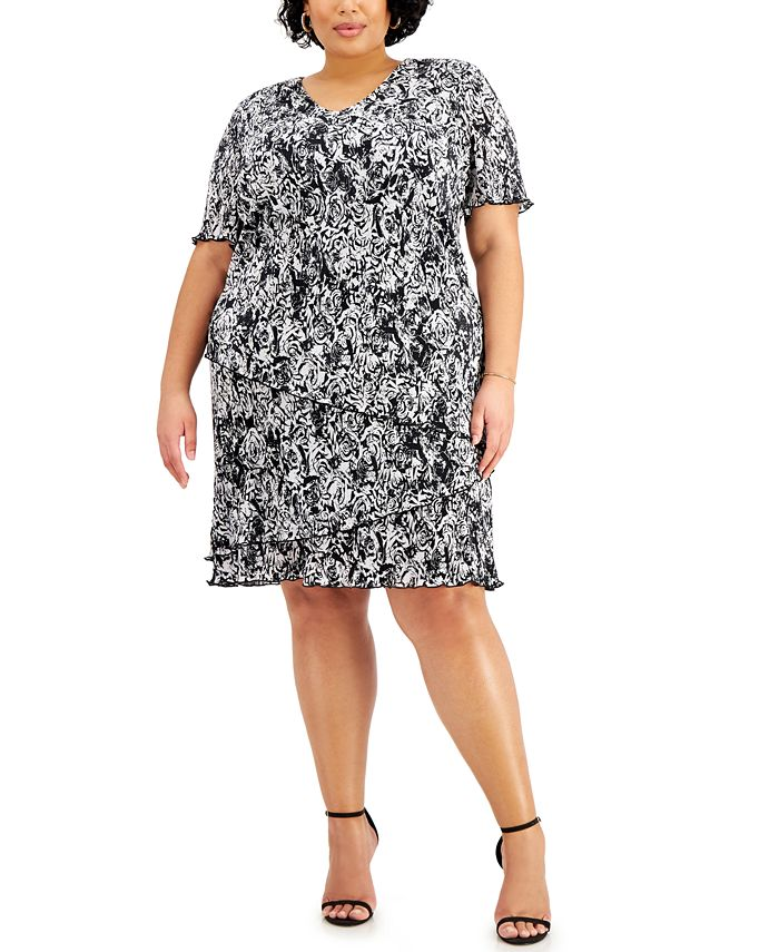 Connected - Plus Size Floral-Print Pleated Tiered Dress