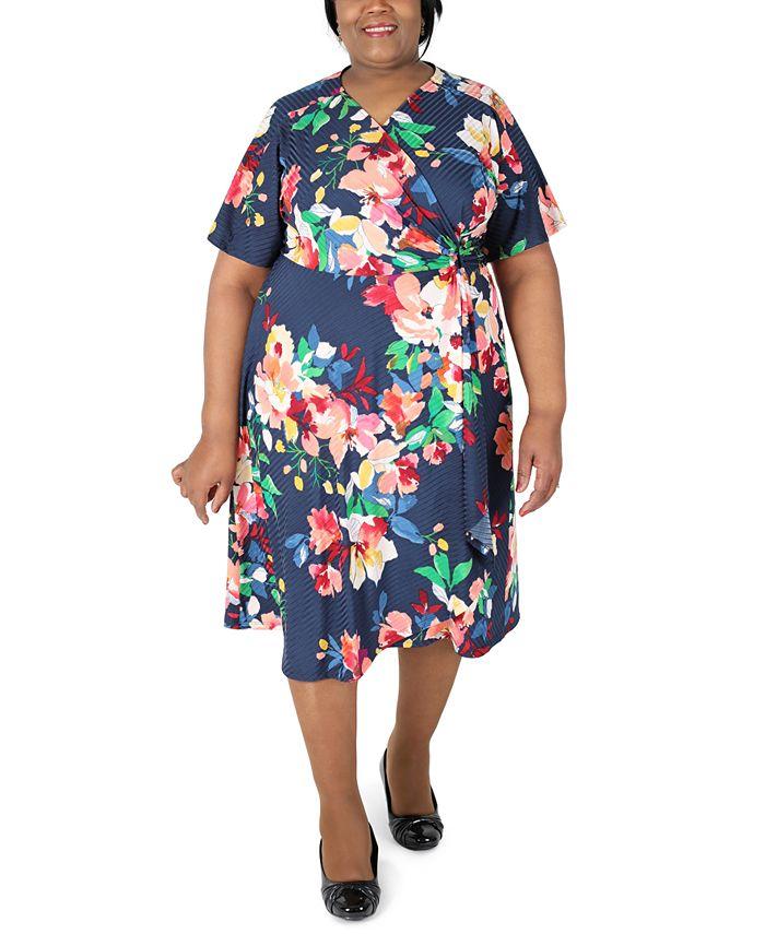 Robbie Bee - Plus Size Printed Faux-Wrap Midi Dress