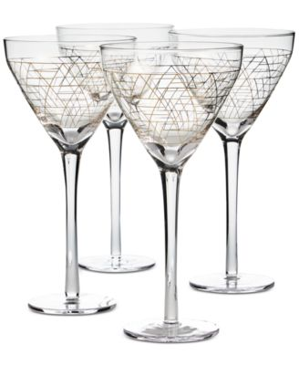 Gold Decal Martini Glasses, Set of 4, Created for Macy's