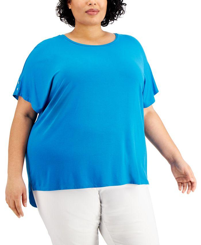 Calvin Klein - Plus Size Button-Sleeve Top