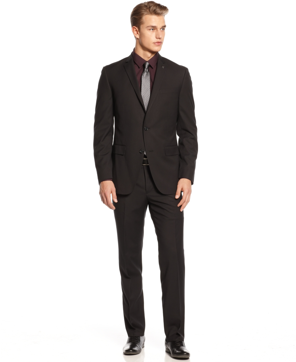 Bar III Black Herringbone with Purple Deco Suit Slim Fit   Suits & Suit Separates   Men
