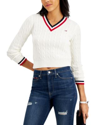 Cotton Cropped Cable-Knit Sweater