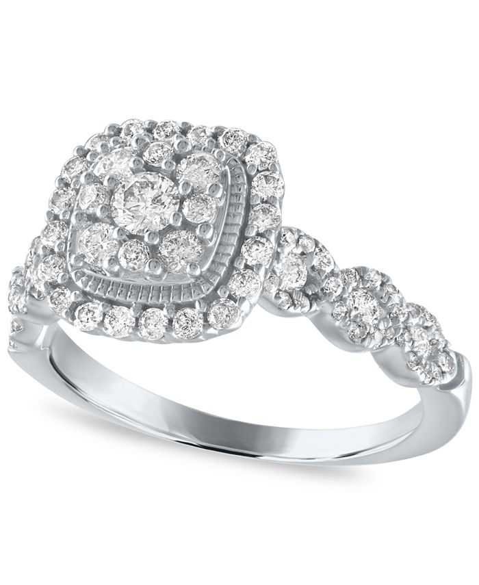 Macy's - Diamond Halo Cluster Engagement Ring (3/4 ct. t.w.) in 14K White Gold