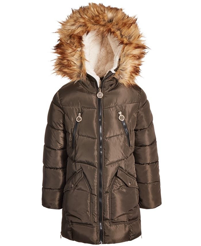 DKNY - Big Girls Fashion Quilted Puffer with Faux-Fur Trim