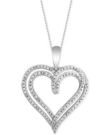 "Diamond Heart 18"" Pendant Necklace (1/5 ct. t.w.) in 10k White Gold"