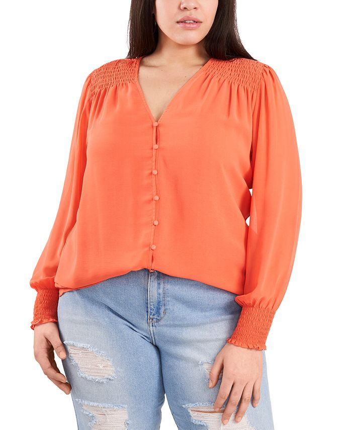 1.STATE - Plus Size Sheer Long-Sleeve Top