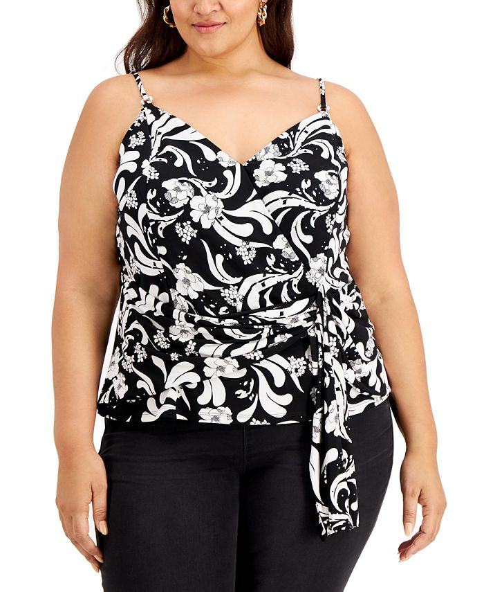 INC International Concepts - Plus Size Draped Printed Top