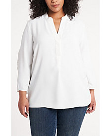 Women's Plus Size Ruched Sleeve Henley