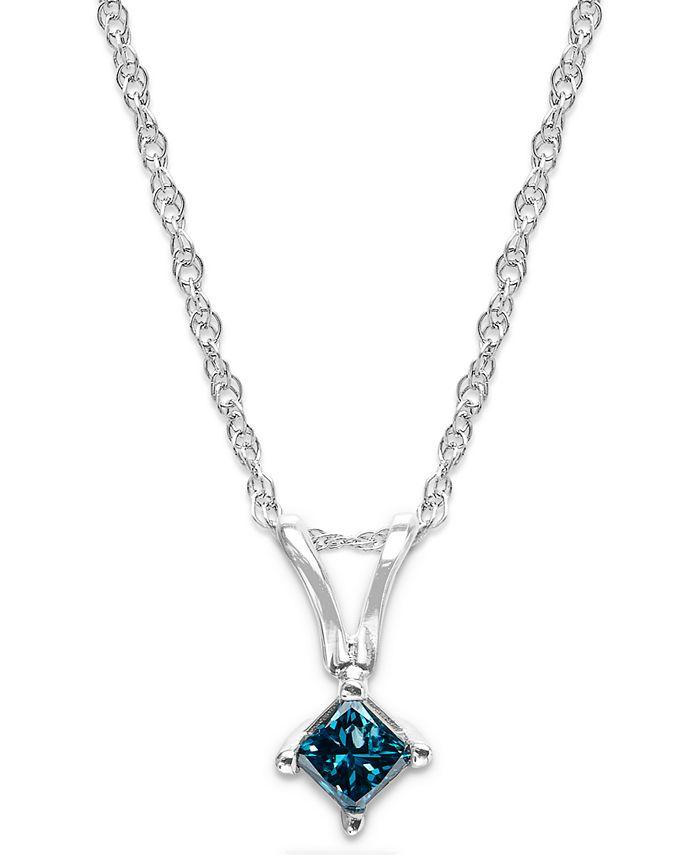 Macy's - 10k White Gold Blue Diamond Pendant Necklace (1/10 ct. t.w.)