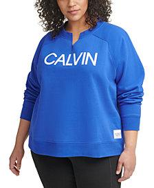 Calvin Klein Performance Plus Size Split Neck Sweatshirt