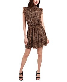 1.STATE Sleeveless Mock-Neck Ruffle Dress