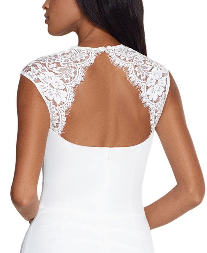 XSCAPE Lace-Trim Cutout-Back Gown & Reviews - Dresses - Women - Macy's