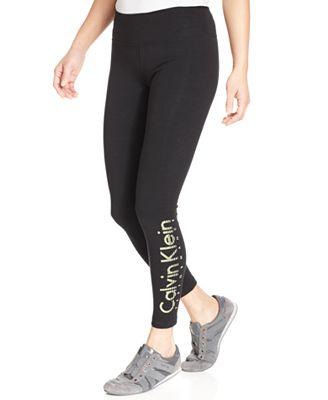calvin klein quick dry logo leggings pants capris women macy 39 s. Black Bedroom Furniture Sets. Home Design Ideas