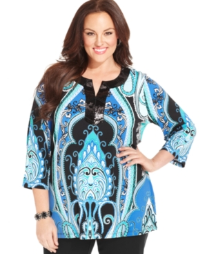 JM Collection Plus Size Three-Quarter-Sleeve Printed Sequin Tunic Top