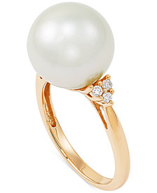 Cultured Ming Pearl (12mm) & Diamond (1/10 ct. t.w.) Ring in 14k Gold