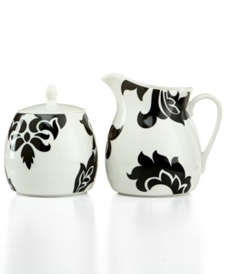 Martha Stewart Collection Lisbon Black Sugar Bowl and Creamer Set