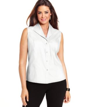 Jones New York Collection Plus Size Easy Care Sleeveless Shirt