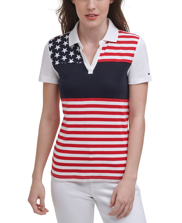 Printed Striped Cotton Polo, Created for Macy's