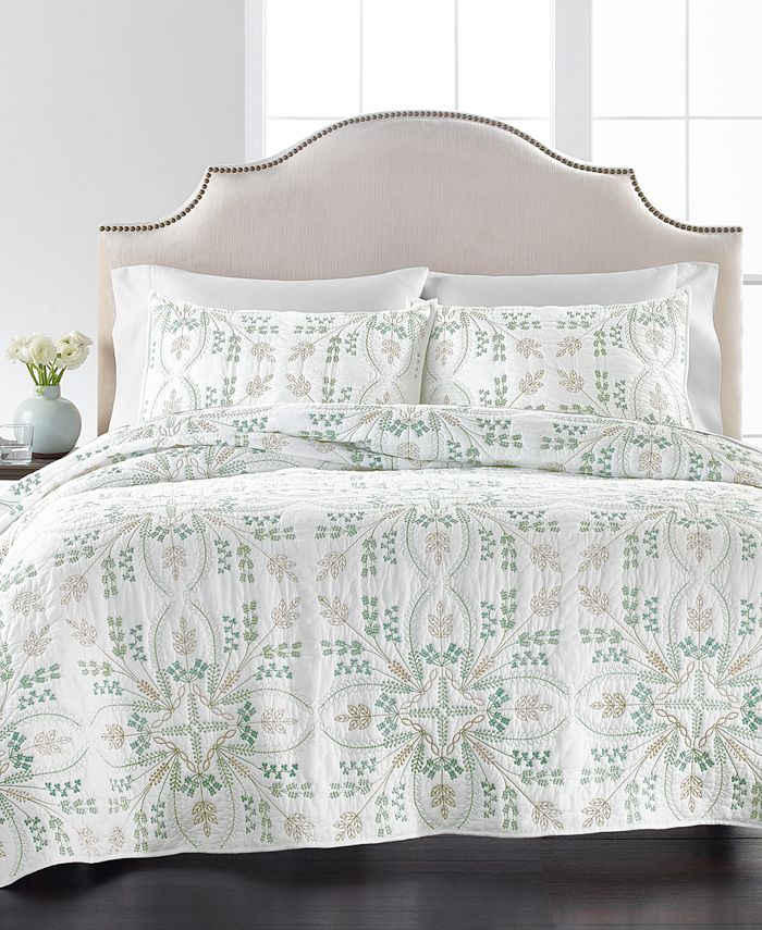 Martha Stewart Collection - Embroidered Tile 100% Cotton Quilt Collection, Created for Macy's