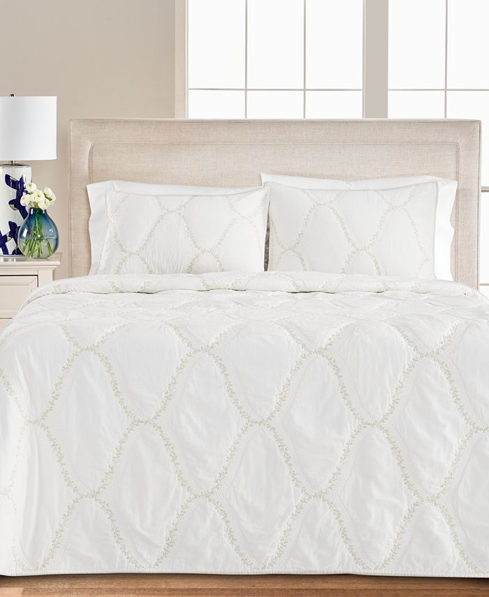 Martha Stewart Collection - Floral Embroidered Geo Quilt Collection, Created for Macy's