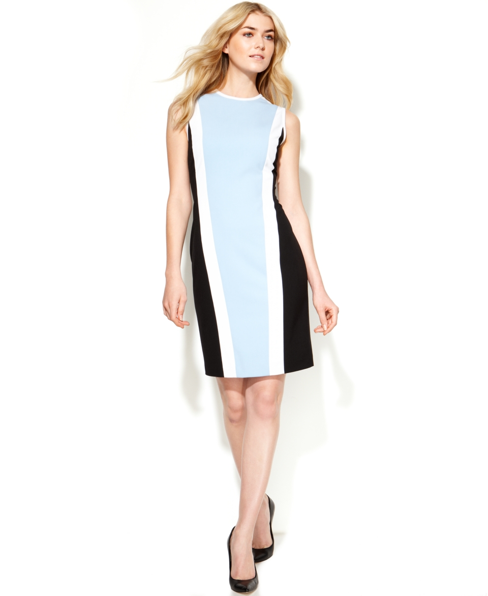 Calvin Klein Sleeveless Colorblock Sheath   Dresses   Women