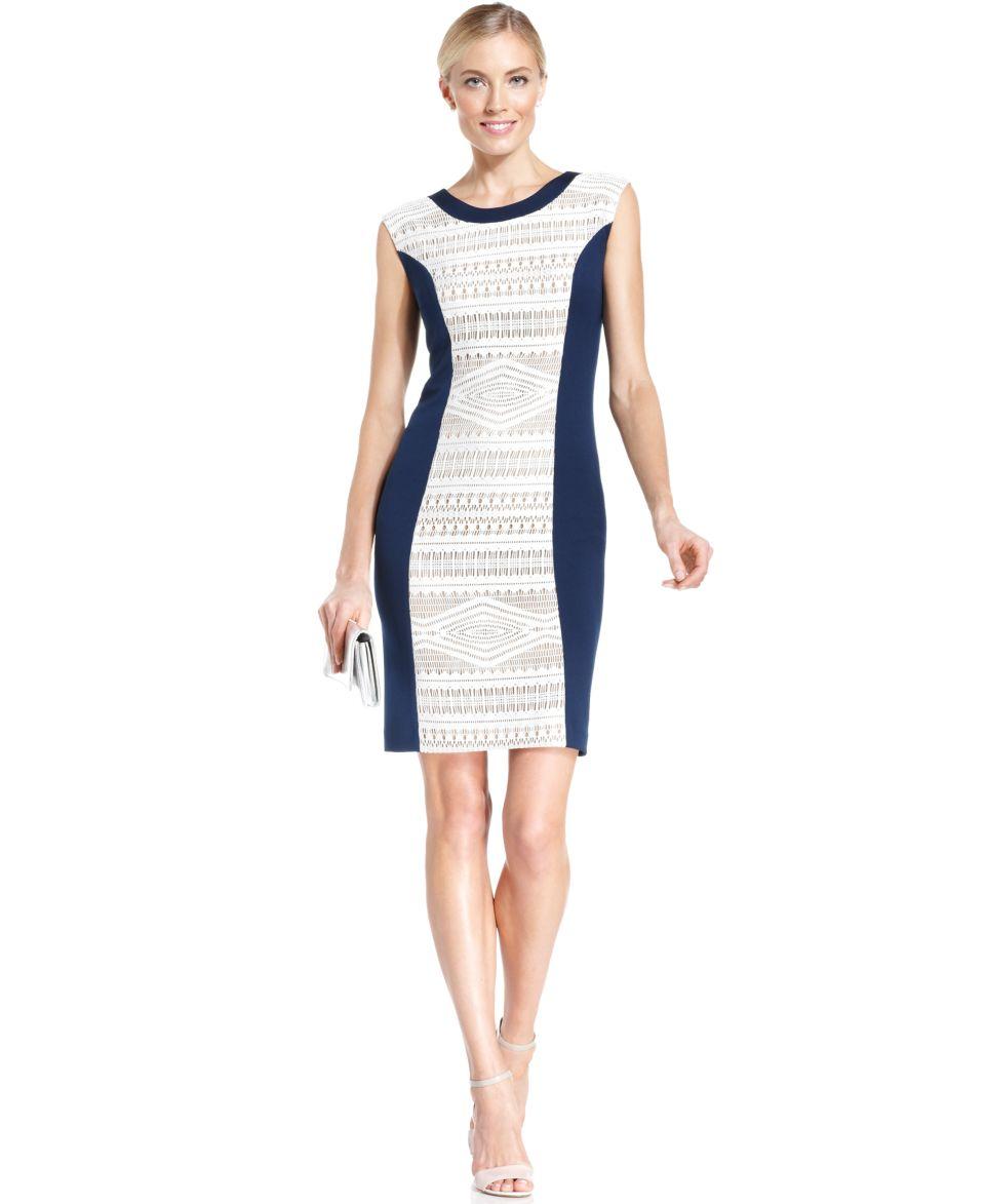 Lauren Ralph Lauren Petite Long Sleeve Colorblocked Boat Neck Dress   Dresses   Women