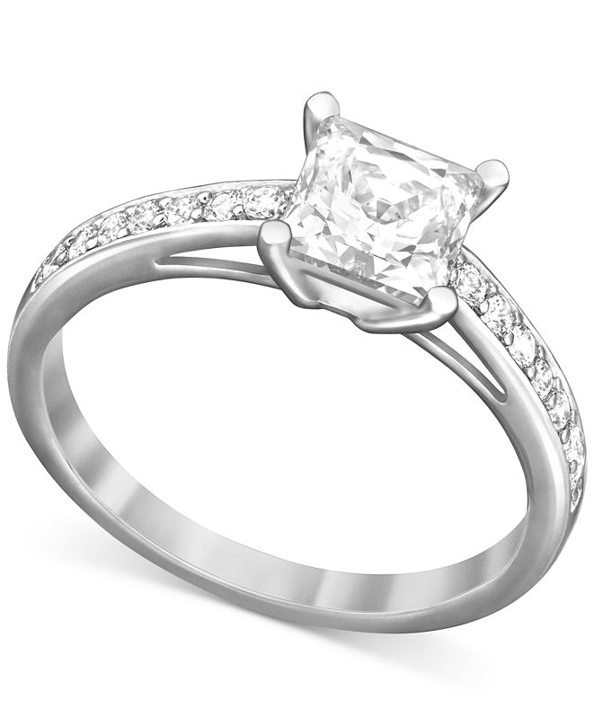 Swarovski Rhodium-Plated Square-Cut Clear Crystal Ring