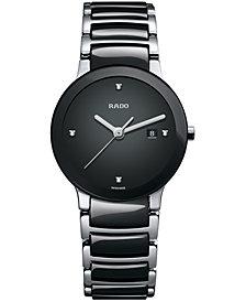 Rado Watch, Women's Swiss Centrix Diamond Accent Stainless Steel and Black Ceramic Bracelet 28mm R30935712