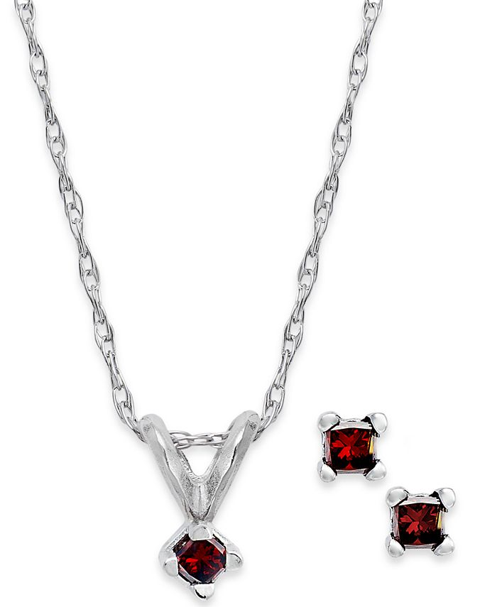 Macy's - 10k White Gold Red Diamond Necklace and Earrings Set (1/10 ct. t.w.)