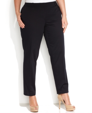 Michael Michael Kors Plus Size Welles Straight-Leg Ankle Pants