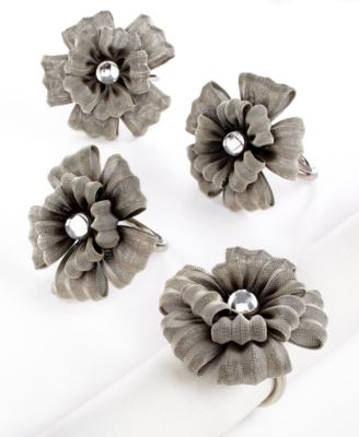 Excell Set of 4 Mesh Flower Napkin Rings