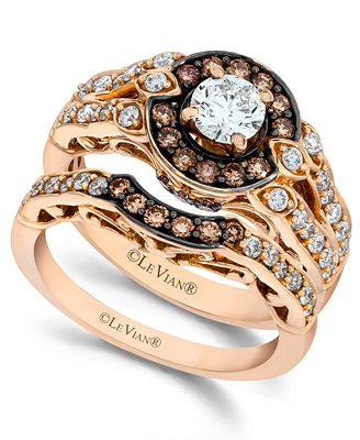 Le Vian Chocolate and White Diamond Engagement Ring Set in 14k Rose