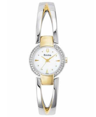 Bulova Watch Womens Two Tone Bangle Bracelet 22mm 98V08