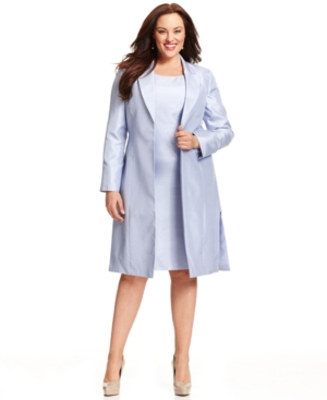 Le Suit Plus Size Shantung Coat & Sleeveless Dress plus size career dress,