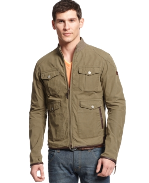 Armani Jeans Leather-Trimmed Canvas Jacket $ 293.99