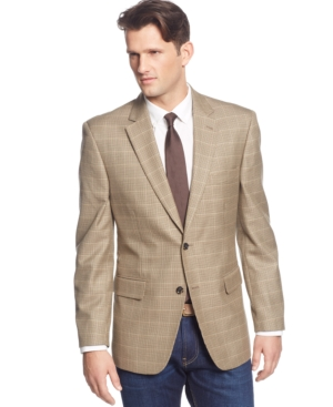 Club Room - Brown Khaki Houndstooth Sport Coat