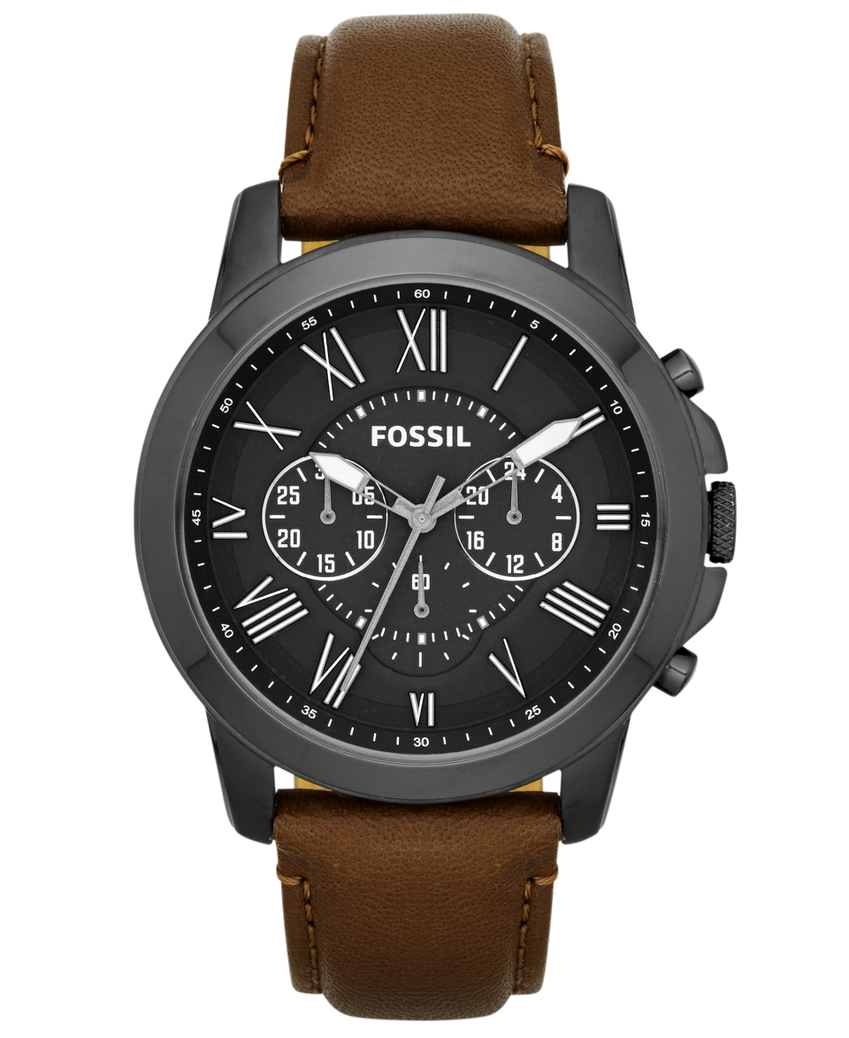 Fossil Mens Grant Brown Leather Strap Watch 44mm FS4885   Watches   Jewelry & Watches